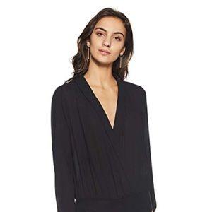 Black surplice bodysuit blouse